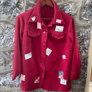 Vintage Women's Red Jacket With Patches